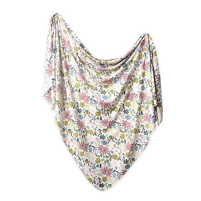 Alternate image 1 for Copper Pearl™ Floral Knit Swaddle Blanket in Olive