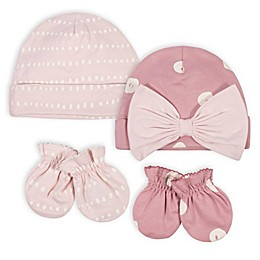 Gerber® 4-Piece Mitten and Cap Set in Pink