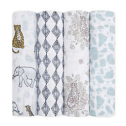 aden + anais® 4-Pack Jungle Swaddle Blankets in Grey