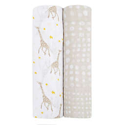 aden + anais essentials® 2-Pack Giraffe Swaddle Blankets in Grey