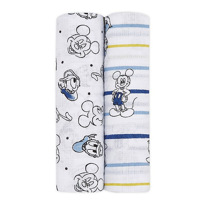 Alternate image 1 for aden + anais essentials® 2-Pack Disney® Mickey Mouse Swaddle Blankets in Blue/White