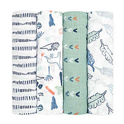 aden + anais essentials® 4-Pack Dinotime Swaddle Blankets in Green/White