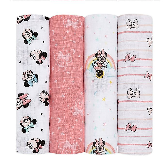 Alternate image 1 for aden + anais essentials™ Disney® 4-Pack Minnie Mouse Swaddle Blankets in Pink/White