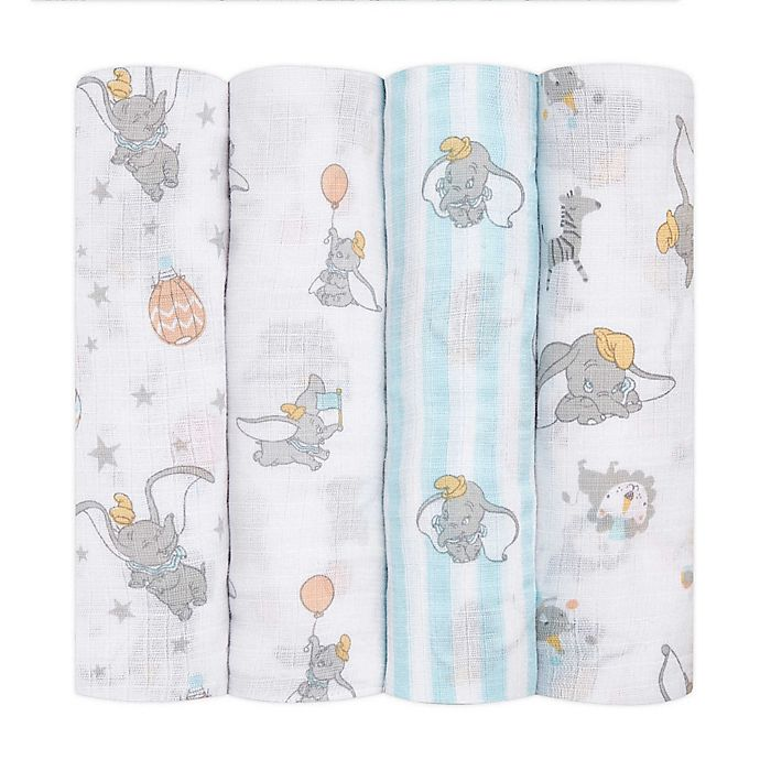 Alternate image 1 for aden + anais essentials® 4-Pack Disney® Dumbo Swaddle Blankets in White/Blue