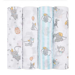 aden + anais essentials® 4-Pack Disney® Dumbo Swaddle Blankets in White/Blue
