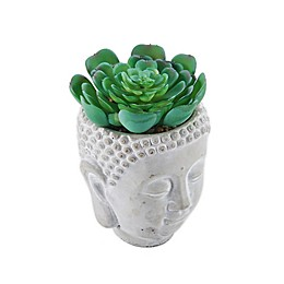 Elements Faux Plant Buddah Head Planter in Grey