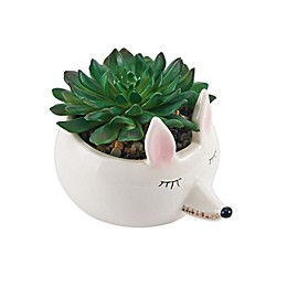 Elements Faux Plant Fox Head Planter in White