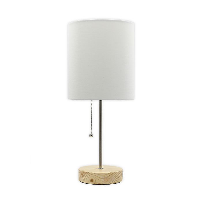 Alternate image 1 for Designs Direct Table Stick Lamp in Silver with USB Port and Linen Shade