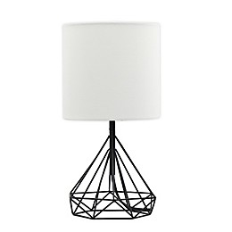 Designs Direct Metal Accent Lamp in Black with Linen Shade