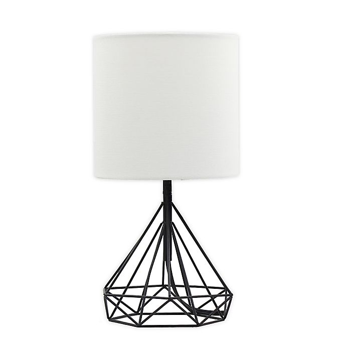 Alternate image 1 for Designs Direct Metal Accent Lamp in Black with Linen Shade