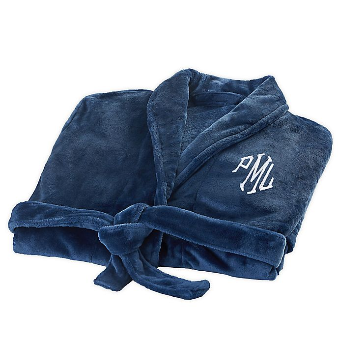 Alternate image 1 for Classic Comfort Personalized Luxury Fleece Robe in Navy