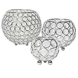 Elegant Designs Elipse Crystal & Chrome Bowl Candle Holder