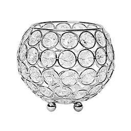 Elegant Designs Elipse Crystal and Chrome 4.25-Inch Bowl Candle Holder