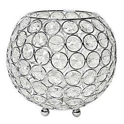 Elegant Designs Elipse Crystal and Chrome 5.5-Inch Bowl Candle Holder