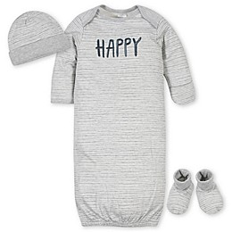 Gerber® 3-Piece Happy Gown Organic Cotton Layette Set in Grey