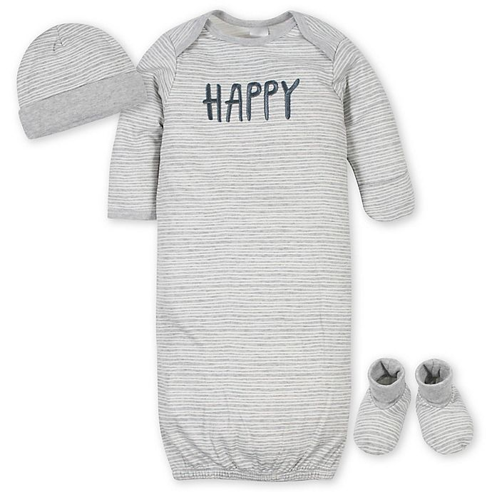 Alternate image 1 for Gerber® 3-Piece Happy Gown Organic Cotton Layette Set in Grey
