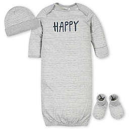 Gerber® Preemie 3-Piece Happy Gown Organic Cotton Layette Set in Grey