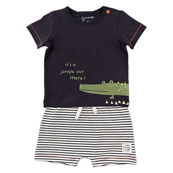 Alternate image 1 for Mac & Moon 2-Piece Crocodile Shirt and Striped Short Set in Charcoal