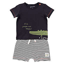 Mac & Moon 2-Piece Crocodile Shirt and Striped Short Set in Charcoal
