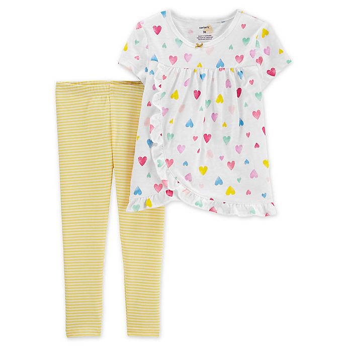 Alternate image 1 for carter's® 2-Piece Heart Top and Legging Set