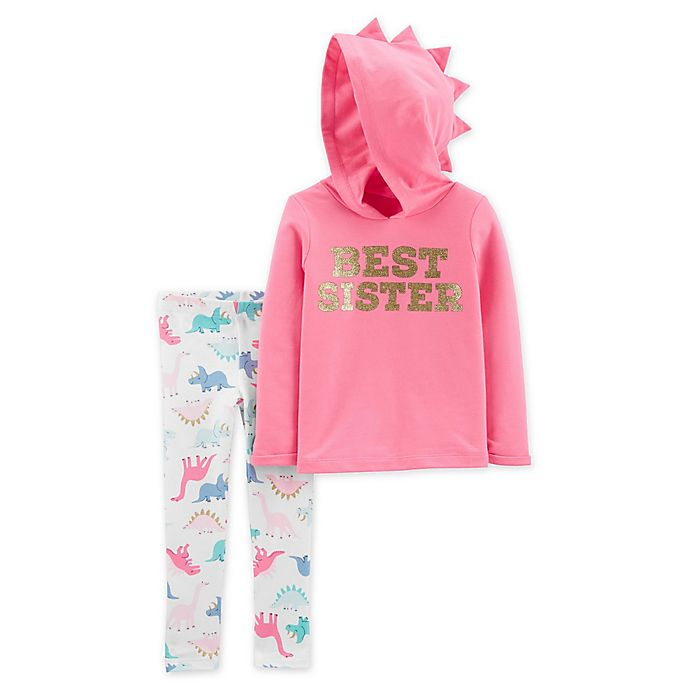 Alternate image 1 for carter's® 2-Piece Best Sister Hoodie and Legging Set in Pink