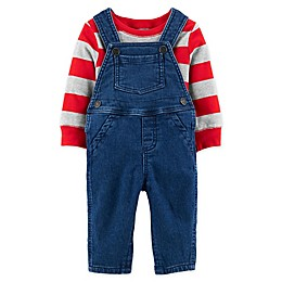 carter's® 2-Piece Striped Tee and Overall Set in Denim