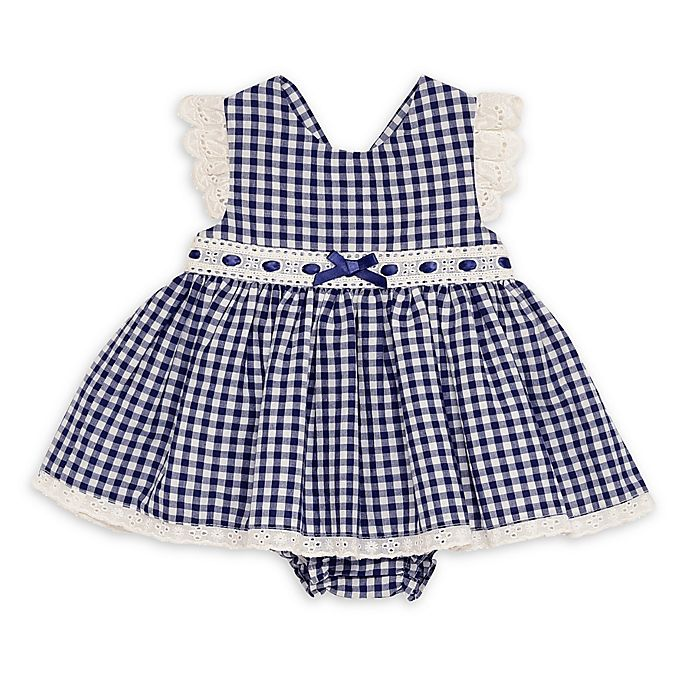 Alternate image 1 for Baby Starters® Gingham Dress with Diaper Cover in Navy