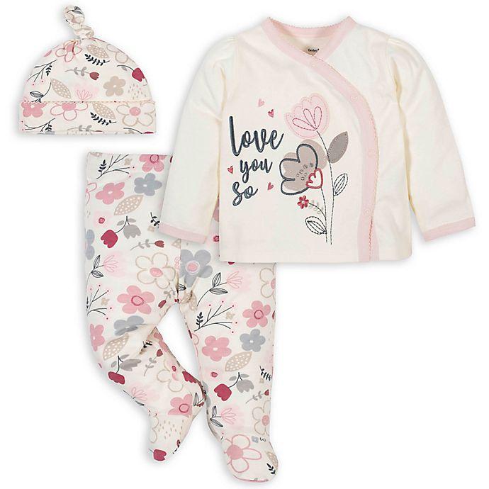 Alternate image 1 for Gerber® 3-Piece Floral Take Me Home Set in Ivory/Pink