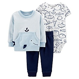 carter's® 3-Piece Whale Pullover, Bodysuit and Pant Set in Blue