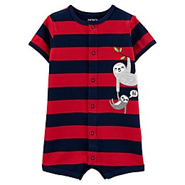 carters® Sloth Snap-Up Romper in Red/Navy