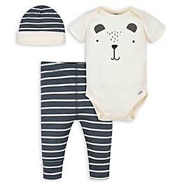Gerber® 3-Piece Bear Onesies® Bodysuit, Pant and Cap Set in Ivory/Grey