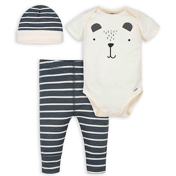 Alternate image 1 for Gerber® 3-Piece Bear Onesies® Bodysuit, Pant and Cap Set in Ivory/Grey