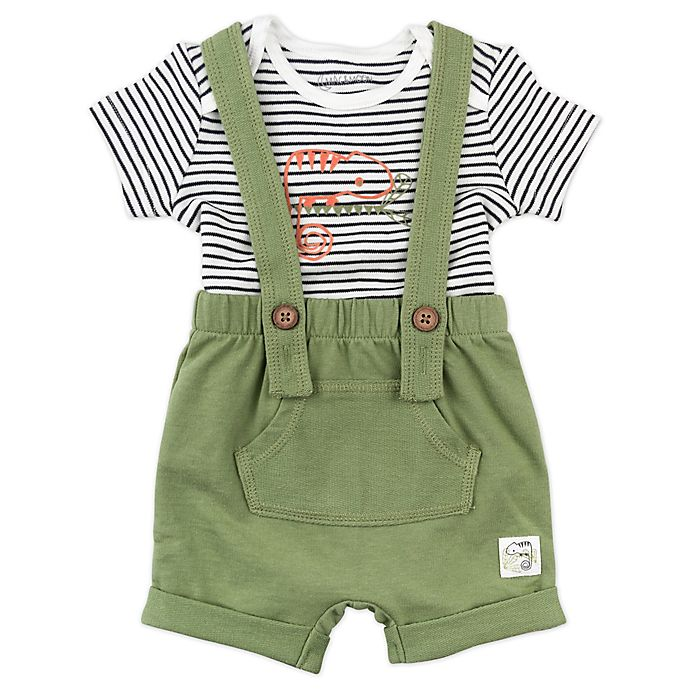 Alternate image 1 for Mac & Moon 2-Piece Shortall and Bodysuit Set in Olive