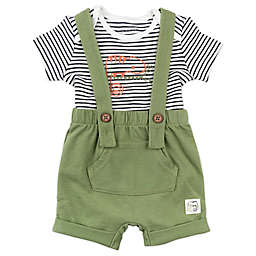 Mac & Moon 2-Piece Shortall and Bodysuit Set in Olive