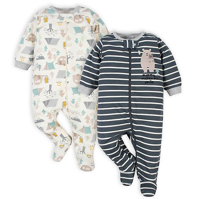 Alternate image 1 for Gerber® 2-Pack Camping Sleep 'n Play Footies in Ivory/Grey