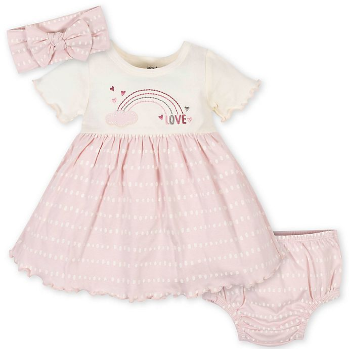 Alternate image 1 for Gerber® 3-Piece Floral Dress, Diaper Cover, and Headband Set in Pink/Ivory
