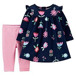 carter's® 2-Piece Flower Dress and Legging Set in Navy