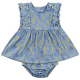 Mac & Moon 2-Piece Lemons Ruffle Sleeve Dress and Diaper Cover Set in Indigo