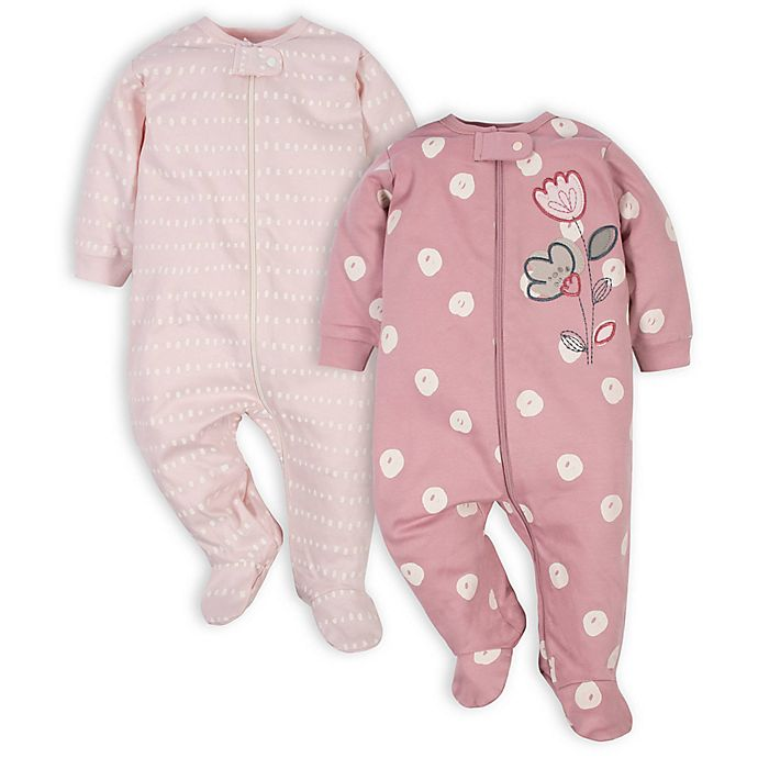 Alternate image 1 for Gerber® 2-Pack Flower Polka Dot Sleep 'n Plays in Pink