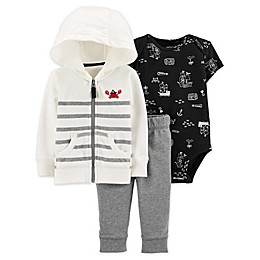carter's® 3-Piece Crab Hooded Cardigan, Bodysuit, and Pant Set in Ivory