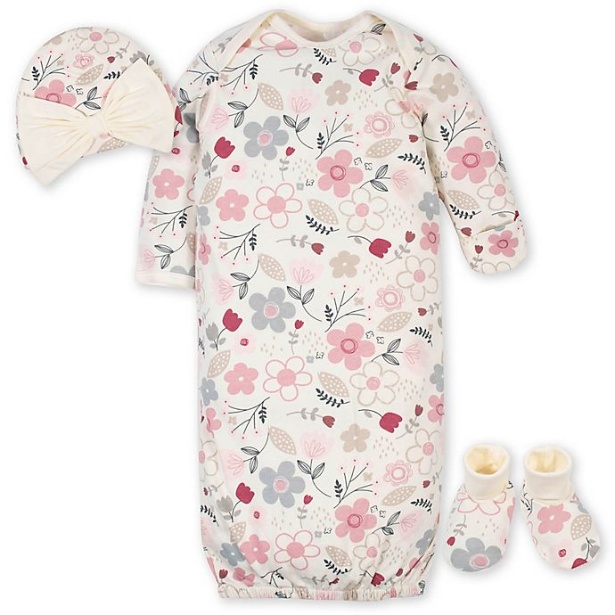 Alternate image 1 for Gerber® 3-Piece Floral Gown Layette Set in Ivory/Pink