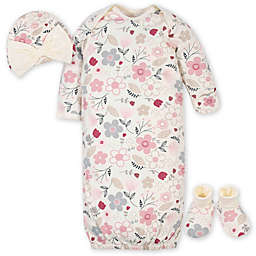 Gerber® 3-Piece Floral Gown Layette Set in Ivory/Pink