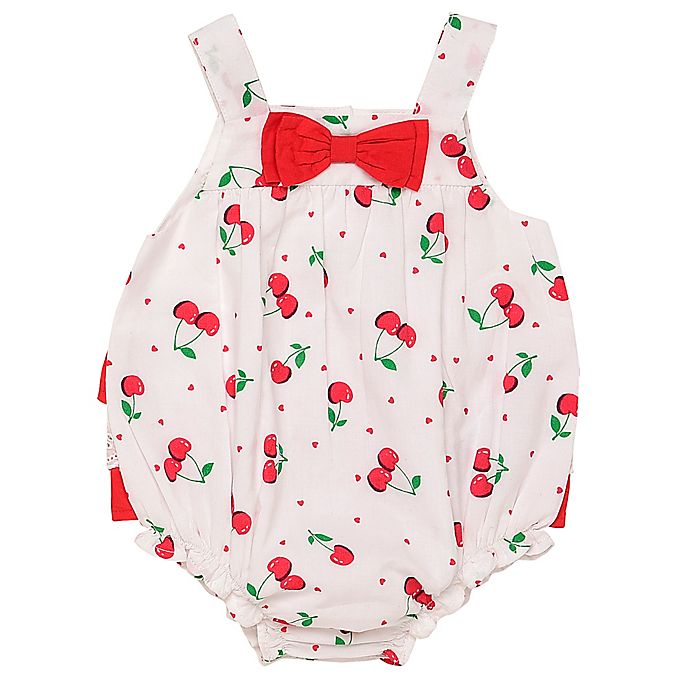 Alternate image 1 for Baby Starters® Cherry Bubble Sunsuit in White