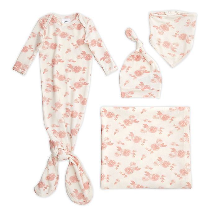 Alternate image 1 for aden + anais® 5-Piece Rosettes Snuggle Knit Newborn Gift Set in Blush/White