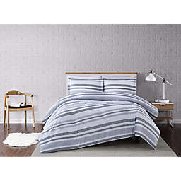 Truly Soft® Curtis Stripe 2-Piece Twin XL Duvet Cover Set in White/Grey