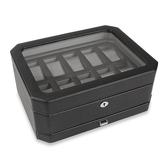 Alternate image 1 for Wolf Designs® 10-Piece Watch Box with Drawer in Black