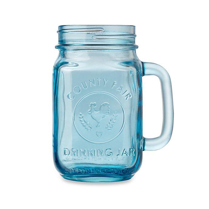 Libbey Glass County Fair 165 Ounce Mason Drinking Jar In Turquoise