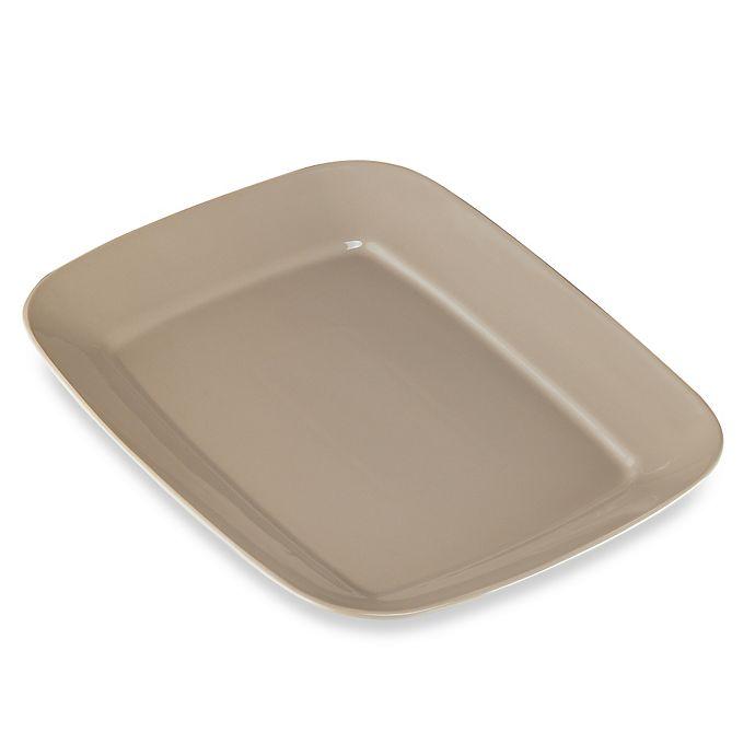 Alternate image 1 for Real Simple® Large Rectangular Rim Serving Platter in Taupe