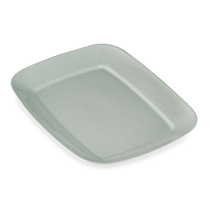 Alternate image 1 for Real Simple® Large Rectangular Rim Serving Platter in Seaglass