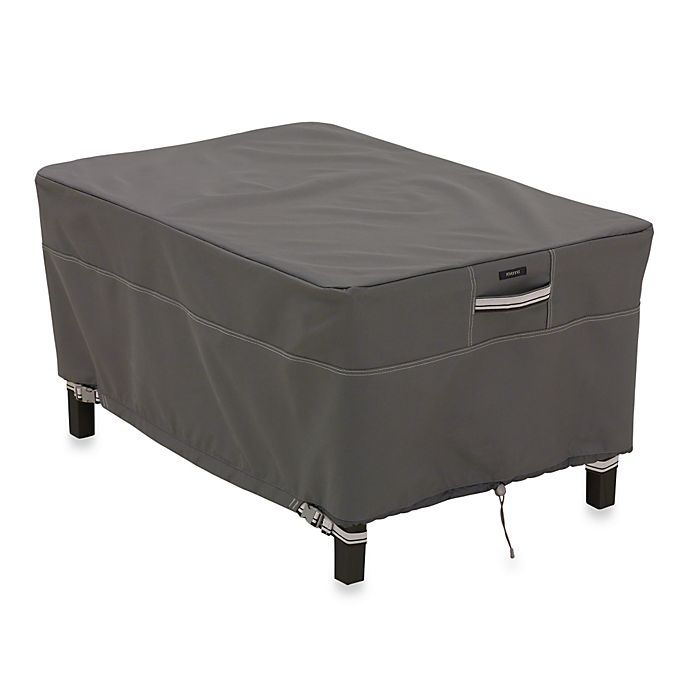 Alternate image 1 for Classic Accessories® Ravenna Rectangular Ottoman/Side Table Cover in Dark Taupe